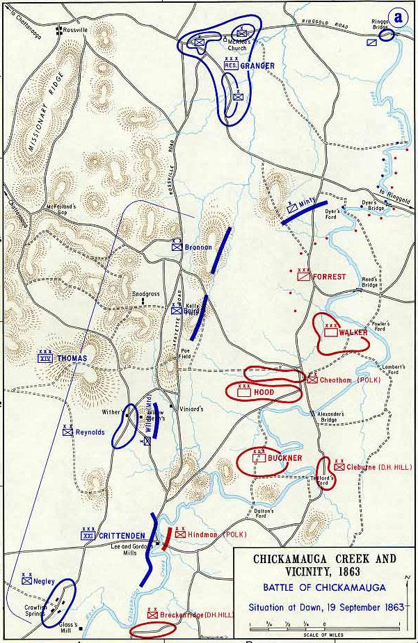 The Battle Of Chickamauga - Battle of chickamauga map